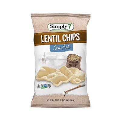 Simply 7 Lentil Chips, Sea Salt, 4 Ounce (Pack of 12) by Simply 7
