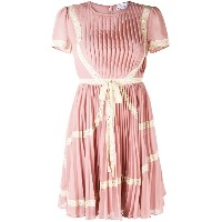 Red Valentino lace trim pleated dress - ピンク