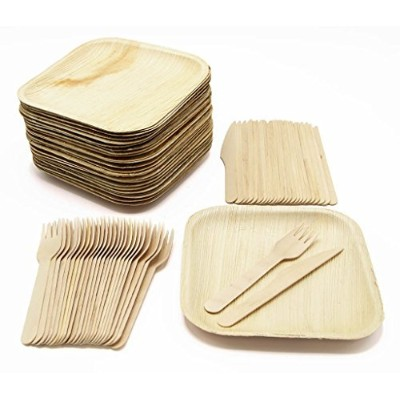 """Eco Friendlyのセット75食器類–25プレート( Compostable 7"""" Square Palm Leaf、25木製フォーク、25木製ナイフ"""