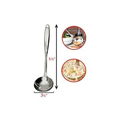 ステンレススチールスープスプーンLadle – Cook、Stir、Dip and Serve Soups、Sauces with Heavy Duty Commercial Catererレストラン...