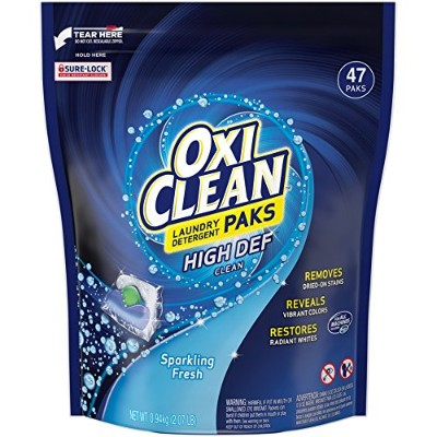 Oxiclean Laundry Detergent HD Packs, Sparkling Fresh Scent, 47 Count by OxiClean