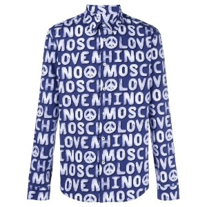 Love Moschino logo print shirt - ブルー