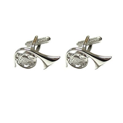 Silver Toned French Horn Music Instrument Cufflinks