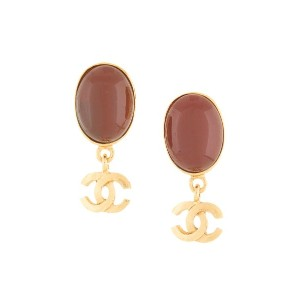 Chanel Vintage CC logo stone clip-on earrings - メタリック