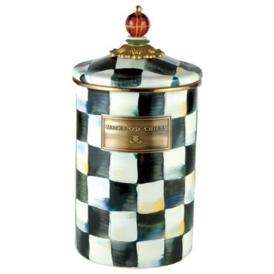"mackenzie-childs CourtlyチェックエナメルCanister – Large 5 "" Dia。、7 "" Tall"