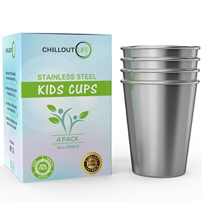 (350ml, Stainless Steel) - Stainless Steel Cups for Kids and Adult 350ml - Metal Kids Cups...