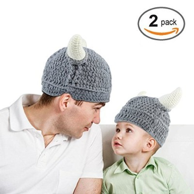 Baby Infantl and Parent Hat Toddler Knit Viking Beanie Crochet Handmade Cap Baby Photography Props ...