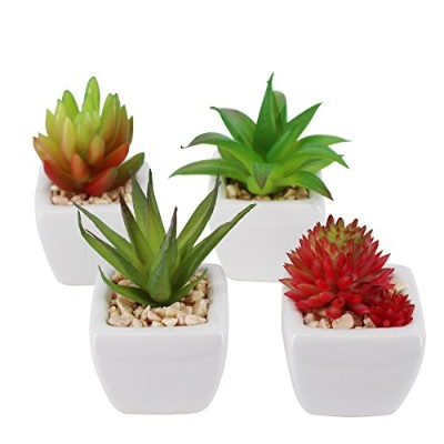 Pack of 4 Small Cube-Shaped White Ceramic Planter Pots with 4 different Artificial Succulent Plants...