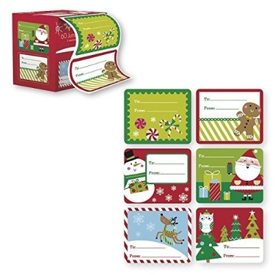 60 Jumbo Self Adhesive Christmas Gift Tags Labels in Easy To Use Roll Just Pull & Place - Juvenile ...