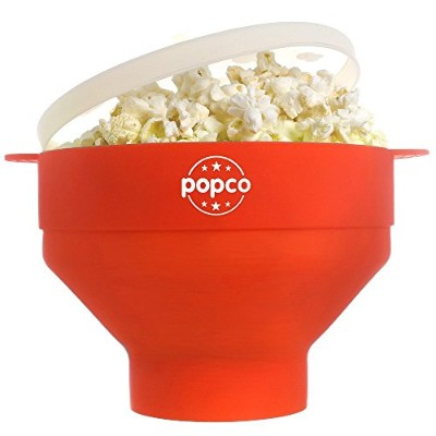 (Red) - The Original POPCO Silicone Microwave Popcorn Popper with Handles BPA free (Red)