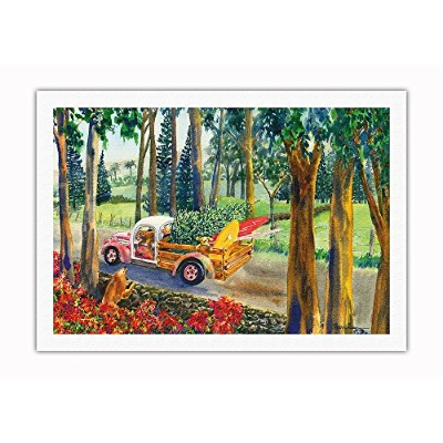 Pacifica Island Art Upcountry Cargo–ハワイアンTruck withサーフボード柄、犬、クリスマスツリー–からハワイオリジナルの水彩画by Peggy...