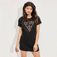 ゲス GUESS LINE TRIANGLE LONGLINE TEE (JET BLACK)