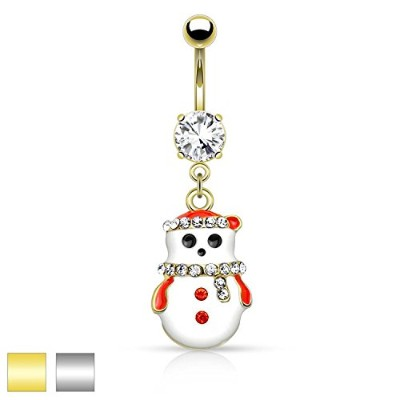 14g Snowman with Multi Colored Gemsダングルへそリング(個別販売)