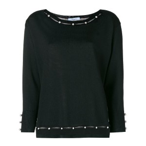 Blumarine pearl embellished knitted top - ブラック