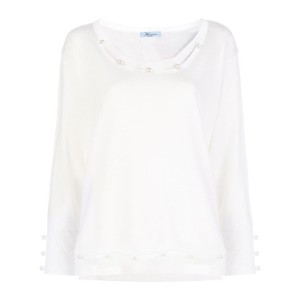 Blumarine pearl embellished knitted top - ニュートラル