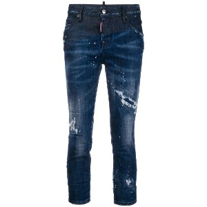 Dsquared2 distressed cropped skinny jeans - ブルー