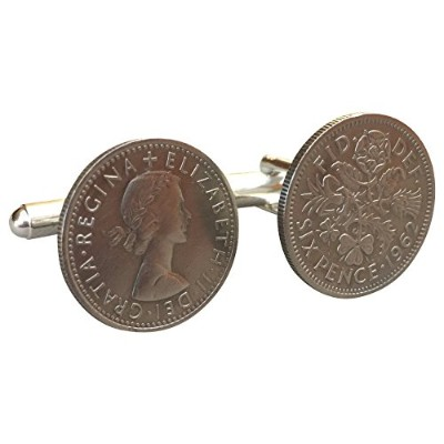 Ammoギフトボックス6ペンスTanner Vintage British Coin Cufflinks