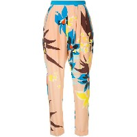 Delpozo floral print trousers - ピンク&パープル