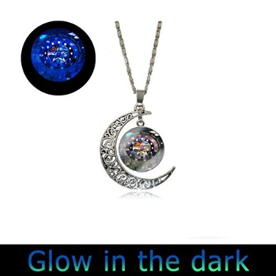 PentacleウィッカGlowingペンダントFull MoonネックレスペンタグラムWiccan Glowingジュエリーチャーム座ネックレス