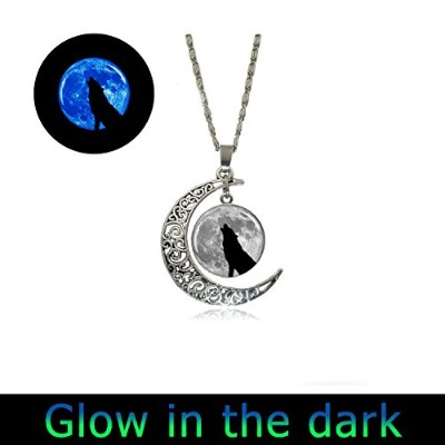 Glowing Howling Wolf MoonペンダントFull MoonネックレスチャームウルフGlowingネックレス樹脂ペンダントネックレス