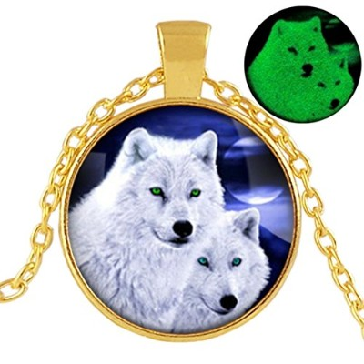 Glowing Wolfネックレス、グローin theダーク、動物ネックレス、シルバーゴールドブラックブロンズネックレス