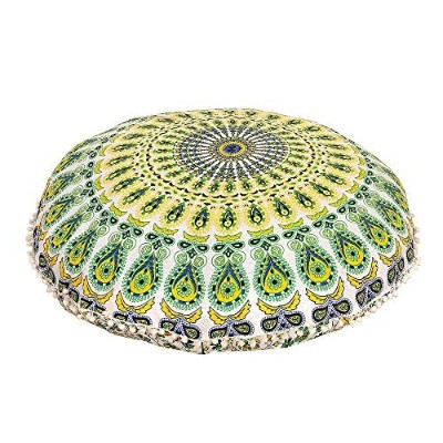 (Yellow) - MANDALA FLOOR PILLOW CUSHION SEATING THROW COVER HIPPIE DECORATIVE Bohemian Ottoman...