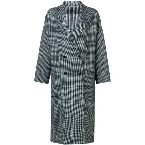 Pinko checked double breasted coat - ホワイト