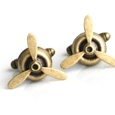スチームパンクAirplane Propeller Cufflinks Aviator AB