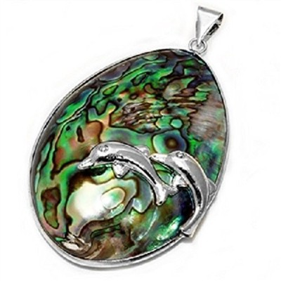 Abalone Shell Ocean and Dolphin Swimingペンダント