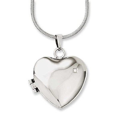 ChiselステンレススチールPolished Heart With CZロケット20でネックレス