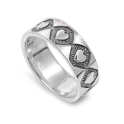 925スターリングシルバーAmor Hearts Eternity Ring