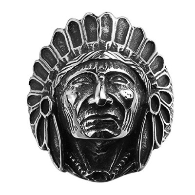 psringsチタンステンレススチールNative American Large Indian Apache Chiefバイカーリング