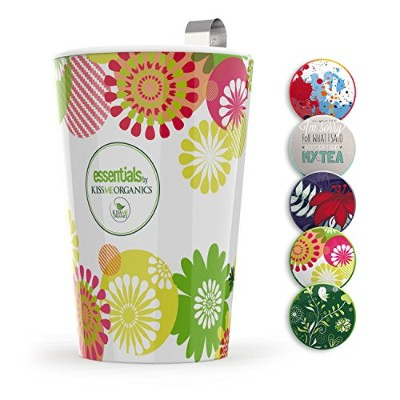 (Design 2) - Steep & Strain Ceramic Tea Mug - Insulated Cup with Tea Infuser and 2 Lids - Travel...