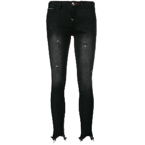 Philipp Plein distressed raw edge skinny jeans - ブラック