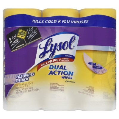 Lysol Dual Action Value Pack Disinfecting Wipes, Citrus Scent, 105 Count by Lysol Disinfecting Wipes