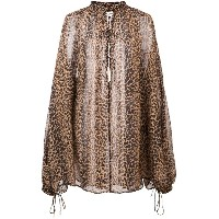 Saint Laurent sheer leopard print tunic - ブラウン