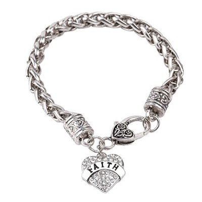 (Faith) - Bling Stars Mother's Day Gift for Mom Bracelet Clear Crystals Lobster Claw Heart Bracelet