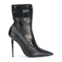 Tom Ford logo bandage pointed ankle boots - ブラック