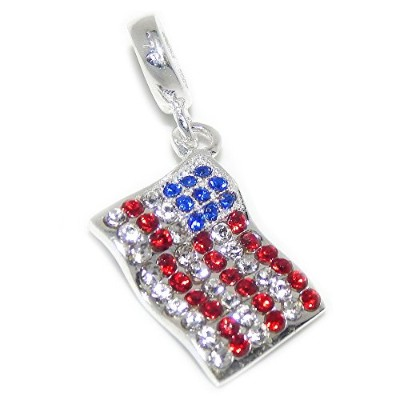 Proジュエリー925Solid Sterling Silver Dangling American Flag withレッド、ホワイト、ブルークリスタルチャームビーズ