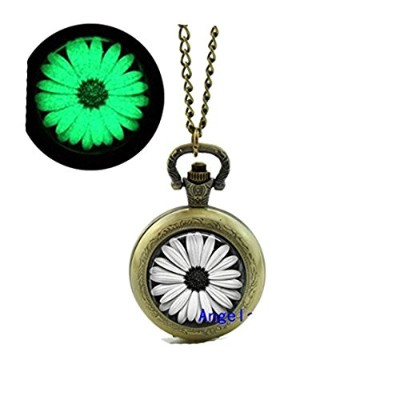 Daisy Glowing Pocket Watch Daisyフローティングガラスロケットネックレスグローin theブラックポケット時計ネックレス