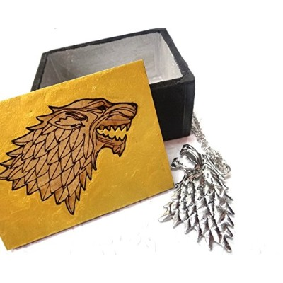 Game of ThronesネックレスStark Dire WolfペンダントIncludes木製ボックス