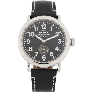 メンズ SHINOLA  RUNWELL 41mm, Black Leather Strap 腕時計 ブラック