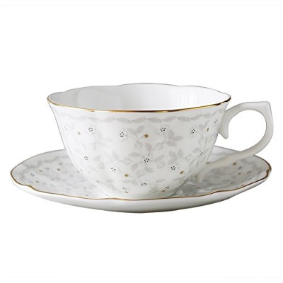 ボーンチャイナコーヒーカップ9oz (250ml) and Saucer Set with Light Colour Flowerデザインluxury-gifts for Woman...