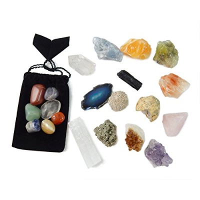 21 Healing Crystals and Chakra Kit: Amethyst, Selenite, Pyrite, Clear Quartz, Half Geode, Rose...