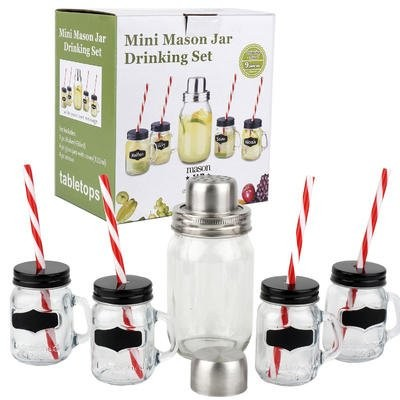 Mason Jar Set of 4 with Lids、ストロー、黒板タグ、Includes Shaker with Strainer