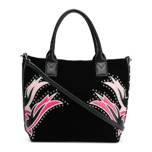 Pinko square embroided tote bag - ブラック