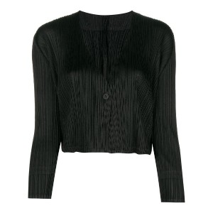 Pleats Please By Issey Miyake pleated cropped jacket - ブラック