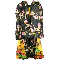 Richard Quinn floral print oversized high low dress - ブラック