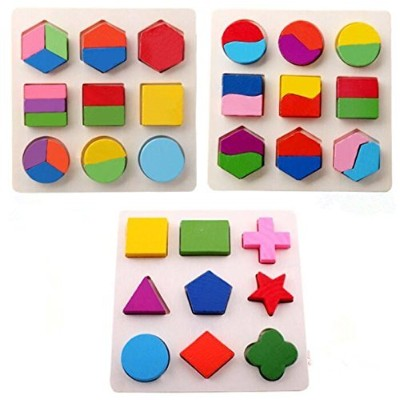 HEMALL Set of 3 Large 20cm Geometric Wooden Puzzles for children aged 3 and over learn Math, Shape...