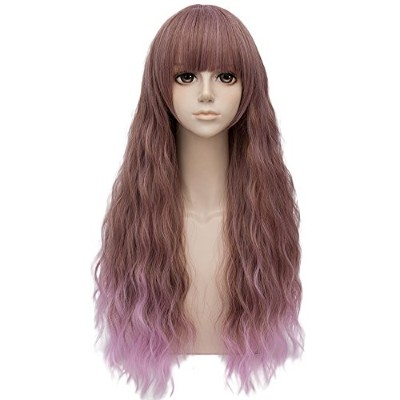 (Brownish Purple) - Brownish Purple Ombre Long 70cm Curly With Bangs Heat Resistant Cosplay Wig...